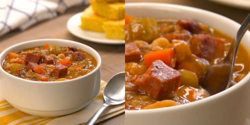 суп из фасоли с ветчиной